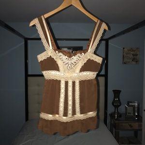 EUC Nanette Lepore 2 Brown Beige Lace Silk Empire